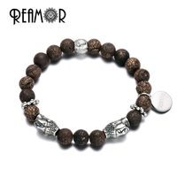 REAMOR Cracked Fire Fossil Natural Stones Stainless Steel Buddha Head Beads Energy Bracelets Bangles Fashion