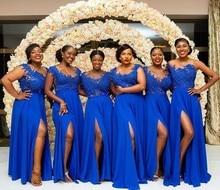 Gewaad Demoiselle Dhonneur Side Slit Royal Blue Lace Bridemaid Jurken Lange Chiffon Sheer Hals Applique Prom Party Gown