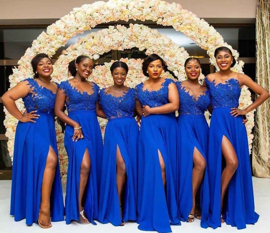 Robe demoiselle d'honneur Side Slit Royal Blue Lace Bridemaid Dresses Long 2019 Chiffon Sheer Neck Applique Prom Party Gown