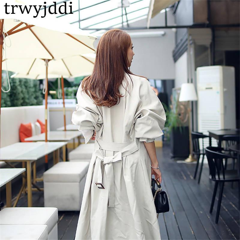 Automne Printemps coats breasted 2019 Nouveau À Single Beige Femmes Longues Coréenne Survêtement Montant vent Manches N496 Col De Long Trench Coupe 5EE0qW14
