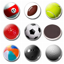 30MM Magnet Fridge Glass Ornaments Tennis Football Golf Billiards Refrigerator Magnets Magnetic Stickers for Home Decor