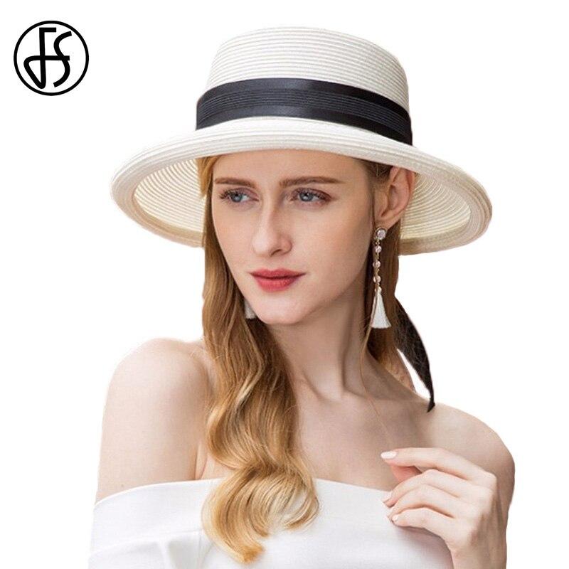 White Sun Summer Hat For Women Straw Hats Black Ribbon Beach 2018 Outdoor  Travel Wide Brim Floppy Visor Caps Sombrero Mujer 2a5a66132c1