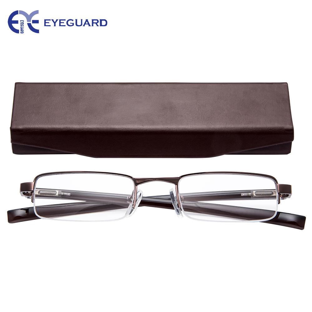 EYEGUARD Half Metal Frame Mini Size Lens Reading Glasses Readers Unisex with Hard Case B ...