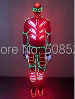 EL Wire Light up Costumes Party Suits Amazing Christmas Supplies DJ Club Wears LED Glowing Clothes Fashion Stage Wears Custom