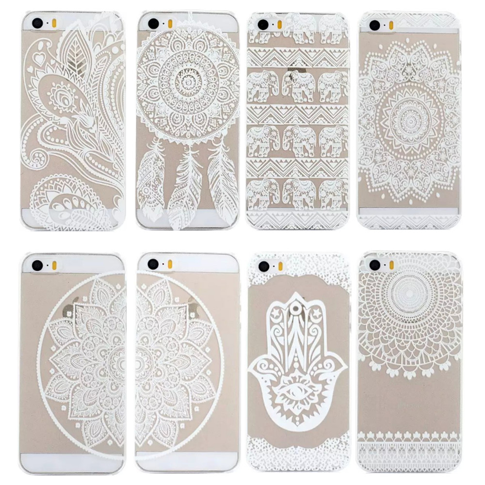 Transparent White Floral Paisley Flower Case Cover For iPhone 5 5S / SE Hard Plastic Phone Bags