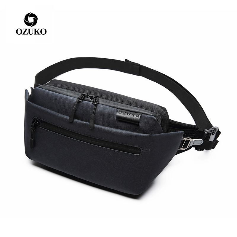 OZUKO 9237 Casual Men Waist Bag Fanny Pack Male Belt Bag Black Waterproof Travel Waist Packs Running Sport Chest Phone Pouch