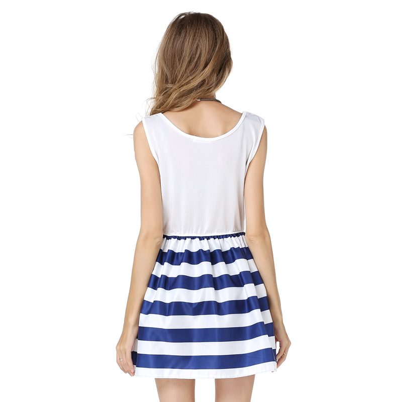 26c131535ea Western fashion navy blue striped women summer dress sleeveless patchwork  design vogue girls mini vestidos casual pleated dress-in Dresses from  Women s ...