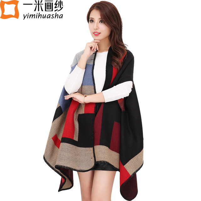 winter plaid cashmere poncho scarf women pashmina shawl thick warm cape blanket wrap female soft scarves and stoles foulard
