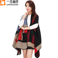 2016 Winter Fashion Brand Boho Style Plaid Thick Poncho Warm Shawls Wrap Cashmere Scarf For Women