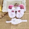 Batismo menina recém-nascido sapatos set cabeça, Tiara infantil sapatos de bebê, Bebê, Chinelos sola macia