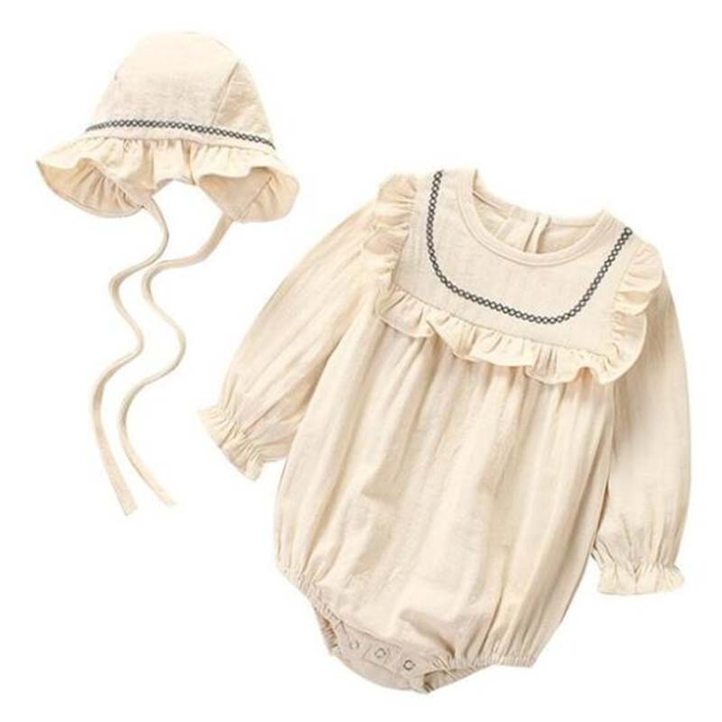 Baby Girl Romper Spring Summer 2019 Newborn Baby Clothes Girl Long Sleeve 100% Cotton Princess Infant Girls Jumpsuit With Hat