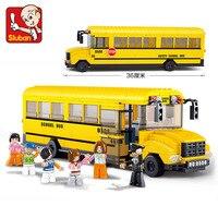 SLUBAN 0506 Big School Bus Building Blocks Learning And Education DIY Bricks Enlighten Block Toys For