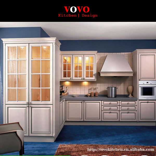 Kitchen Cabinets And Countertops Cost: White Maple Kitchen Cabinet With Grey Countertop-in