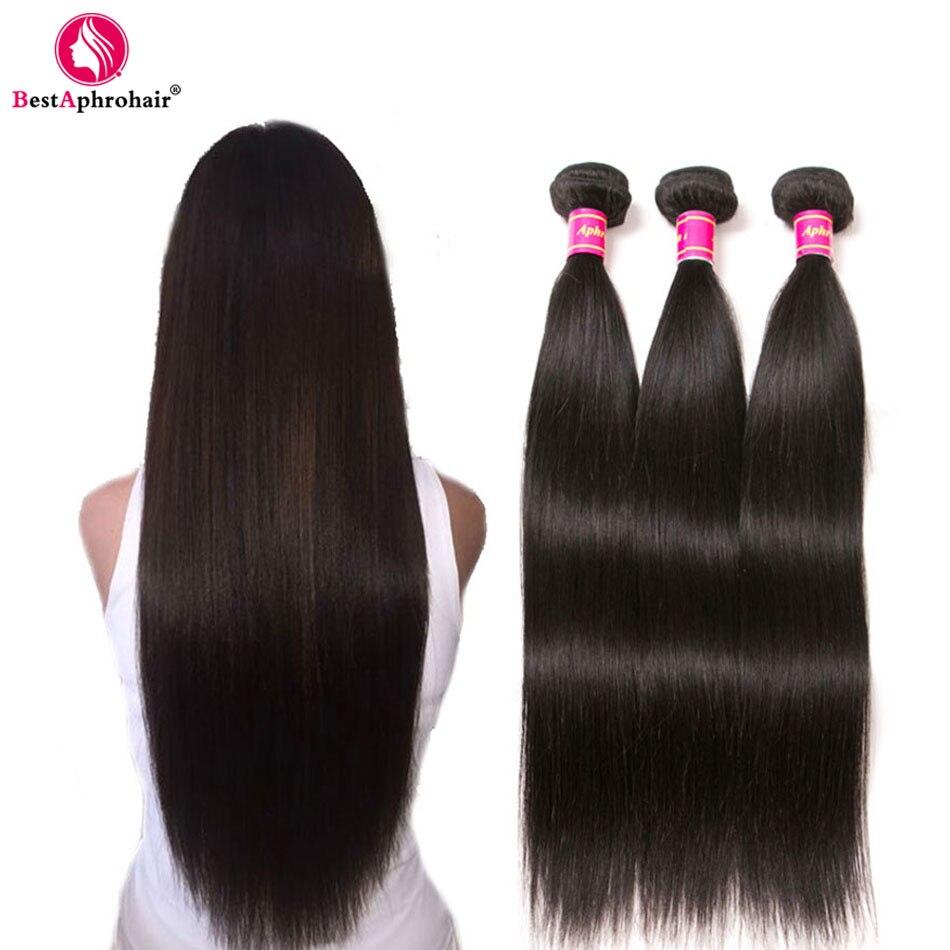 Aphro Brazilian Straight Hair Human Hair 3 Bundle Deals Brazillian Hair Weave Bundles Natural Color 1b