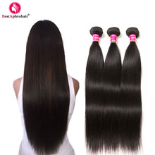 Aphro Brazilian Straight Hair Human Hair 3 Bundle Deals Brazillian Hair Weave Bundles Natural Color #1b Non Remy Hair Extensions