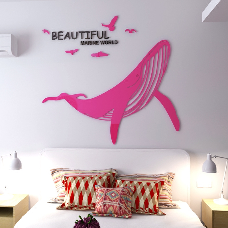 Whale Acrylic 3d three dimensional wall stickers Office living room ...