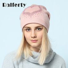 Ralferty 2018 Winter Women's Hats Wool Knitted Beanies Casual Double Layer Thick Warm Hats For Women Ski Cap bonnet femme gorros