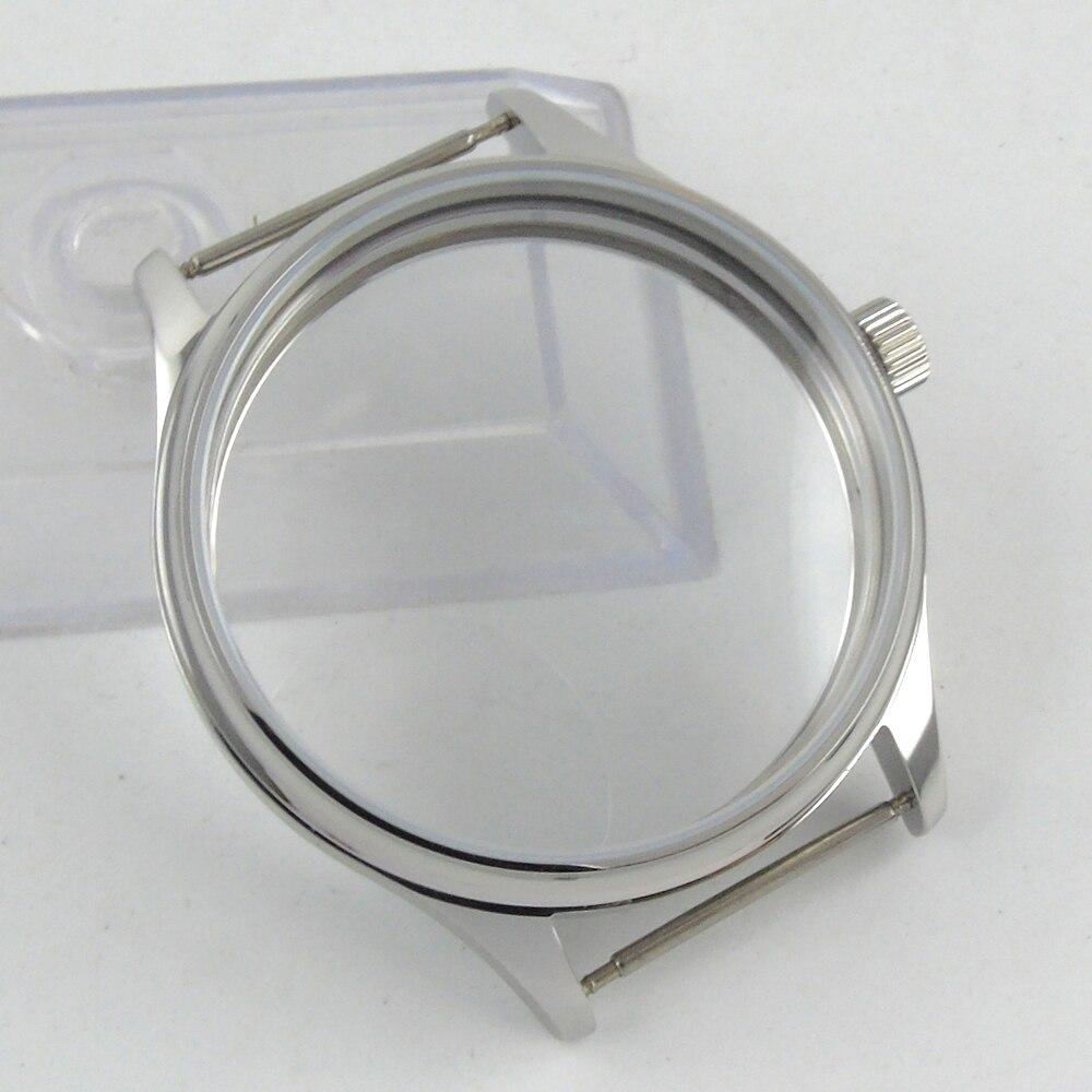 44mm parnis watch sterile CASE fit eta 6498 6497 hand winding eat movement