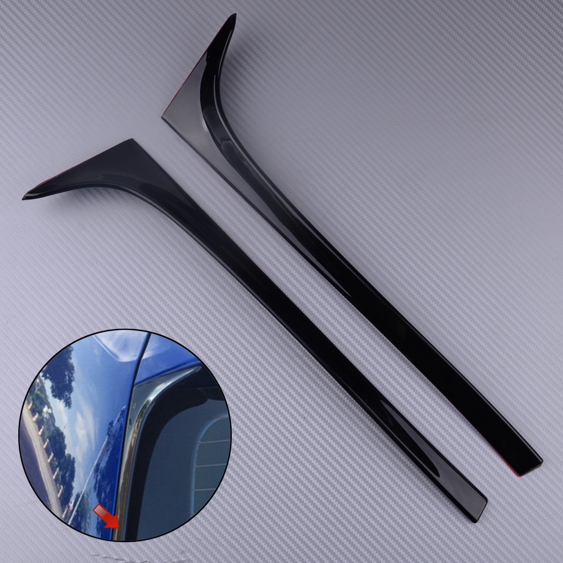 DWCX 2Pcs Car Black Rear Window Side Spoiler Wing Fit For VW <font><b>GOLF</b></font> MK7 MK7.5 <font><b>R</b></font> GTE GTD image