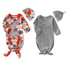0-6M Baby Girl Boy Sleeping Bags Hat 2Pcs Soft Floral Newborn Swaddle Muslin Blanket