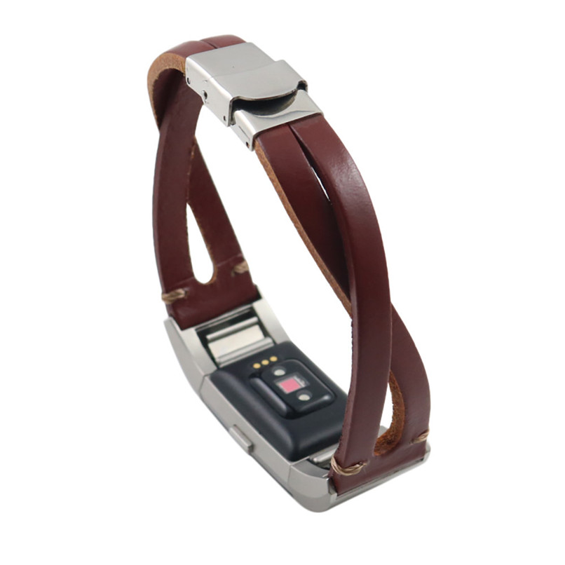 Replacement Leather Wristband Band Strap Bracelet For Fitbit Charge 2 H35