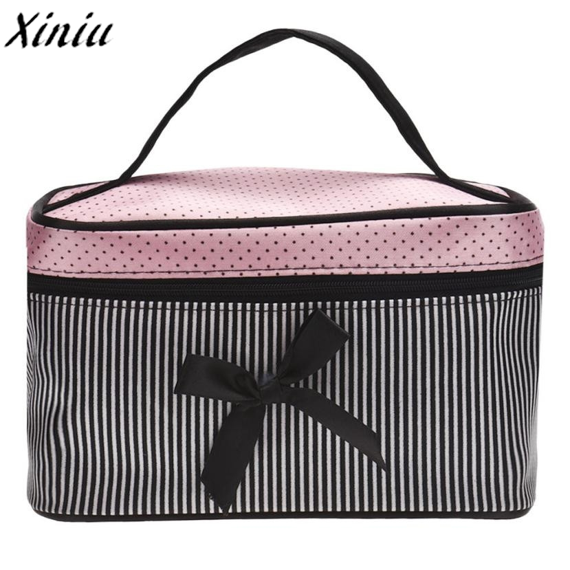 Cosmetic Bag Bowknot Dots Printing Satin Hot Sale Makeup Bags Cute Stripe Fashion Toiletry Bag Organizer Sac Maquillage #9518 cute hot sale stripe design pantyhose for girl