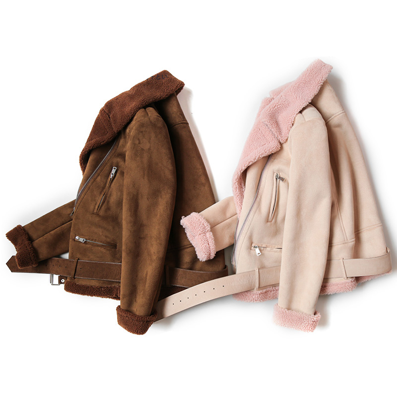 Winter Faux Sheepskin Coat Women Short Motorcycle Jacket Soft Warm Suede Soft Lambswool Fur Coats Women Leather Jackets