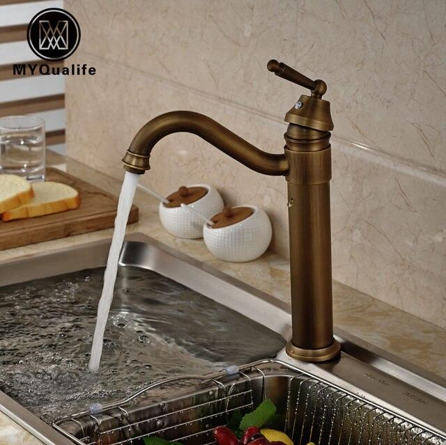 Online Shop Antique Brass Countertop Bathroom Kitchen Mixer Faucet ...