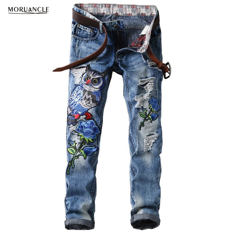 MORUANCLE New Fashion Mens Ripped Patches Jeans Slim Fit Eagle Embroidered Denim Pants Male Distressed Hip Hop Jean Trousers