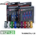 PIVOT-D1spec JDM Lingotes De Alumínio Racing Wheel Lug Nuts P: 1.25, L: 52mm 20 pçs/set TK-650NUTS-L-1.25