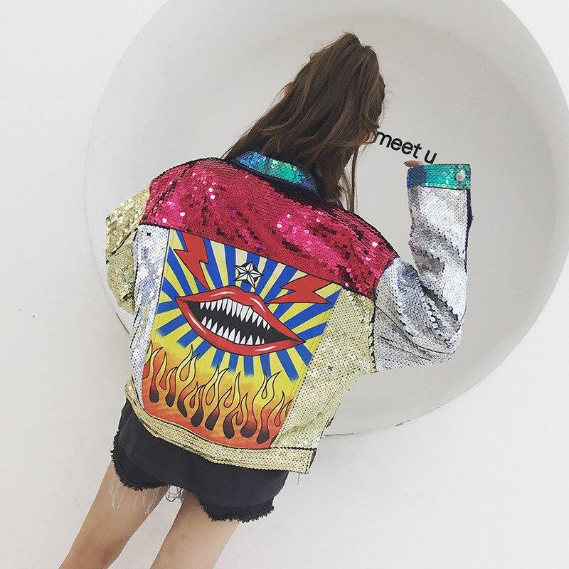 Bling Sequins jaqueta jeans Jacket 2017 women punk Loose Colorful Lip Print Denim Coat DS Bar Costume LT232S10