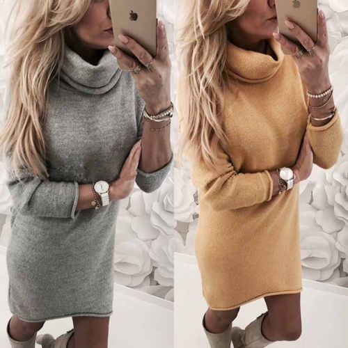 Womens Fall Winter Long Sleeve Jumper Sweater Turtleneck Casual Solid Loose Dresses Tops Slim Party Bodycon Mini Dress