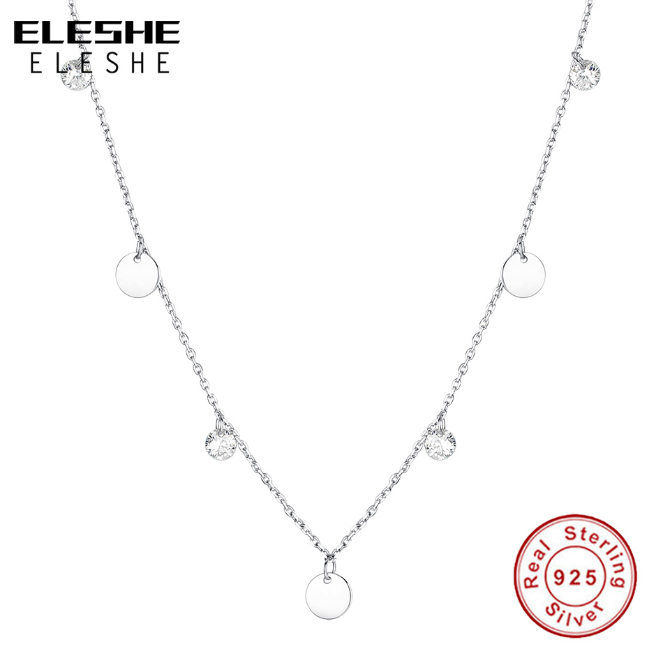 ELESHE Vintage 925 Sterling Silver Cubic Zircon Crystal Round Coin Choker Necklaces Pendant for Women Fashion Silver JewelryELESHE Vintage 925 Sterling Silver Cubic Zircon Crystal Round Coin Choker Necklaces Pendant for Women Fashion Silver Jewelry
