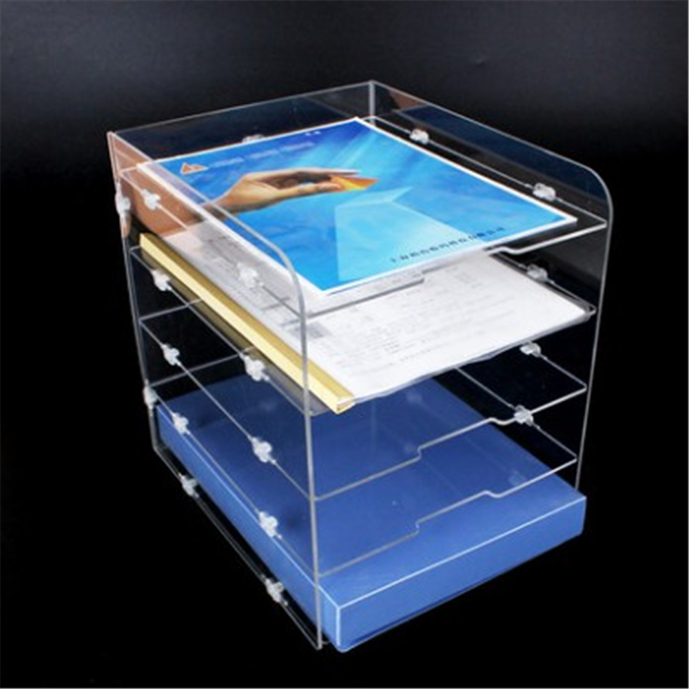 DIY 5 Layers Acrylic File Tray File Document Holders Book Holder Bookend Organizer Office School Supplies Desk Accessories manager folders with 4000mah mobile power multifunction cument holder manager holders office supply work accessories