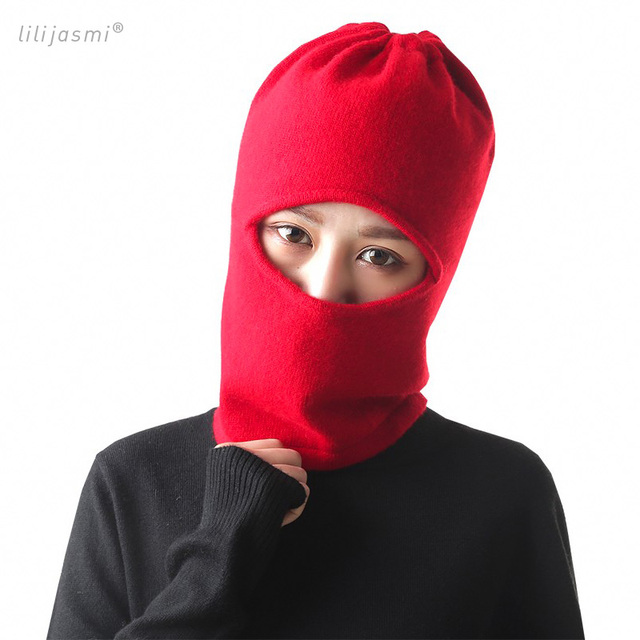 Women s Wool Cashmere Knittted Thermal Hood Lace-up Ski Face Mask  Protection Balaclava Hat Headgear Hood Scarf Elegant Beanies 8f20101c3