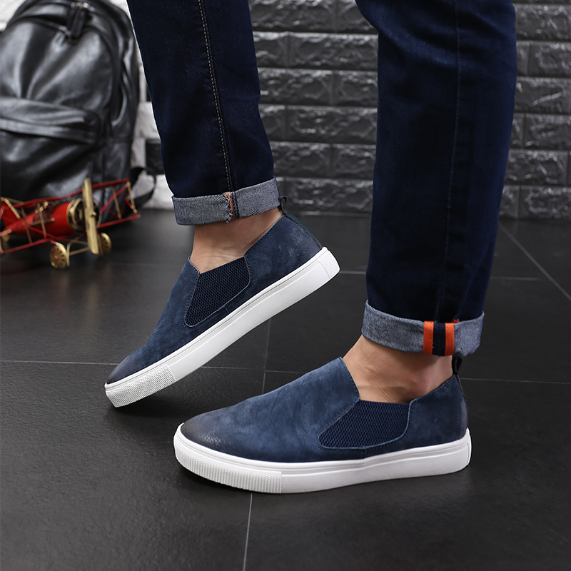 ФОТО 2016New men shoes Casual Flats Heels Round Toe Black Loafer Shoes Autumn Comfort men white shoes 38-46 big sizes Genuine leather