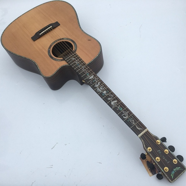 Cheap full solid wood cutway acoustic guitar performance guitar with free case free shipping