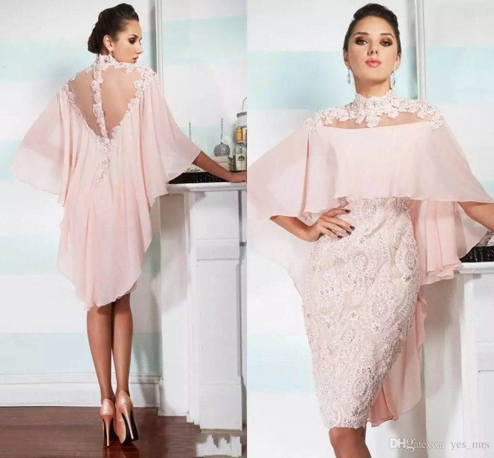 2018 High Neck Pink Chiffon Lace Applique Beaded With Cape Custom Sheer Back Evening Gown Vestido Novia Mother Off Bride Dresses