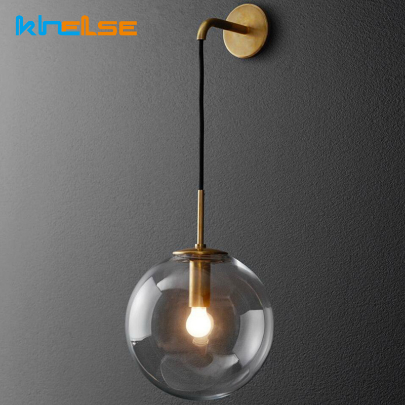 Retro Lamp Nordic Modern LED Wall Lamp Wall Sconce Light Glass Ball Dining Bedside E27 Wall Lamp Aisle Corridor Pub Cafe Aplique modern led wall lamp gold body glass dining room wall lamps cafe bedroom lights glass wall light e27 bedside lamp ac90 260v