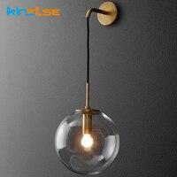 Retro Lamp Nordic Modern LED Wall Lamp Wall Sconce Light Glass Ball Dining Bedside E27 Wall Lamp Aisle Corridor Pub Cafe Aplique