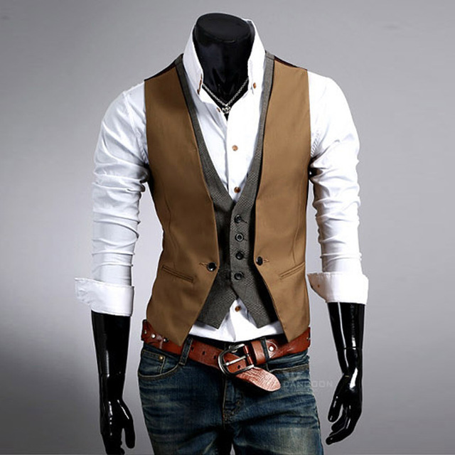 The new 2016 men's fashion brand high quality gentleman suit vest / Men fake two piece cultivate one's morality party suit vest