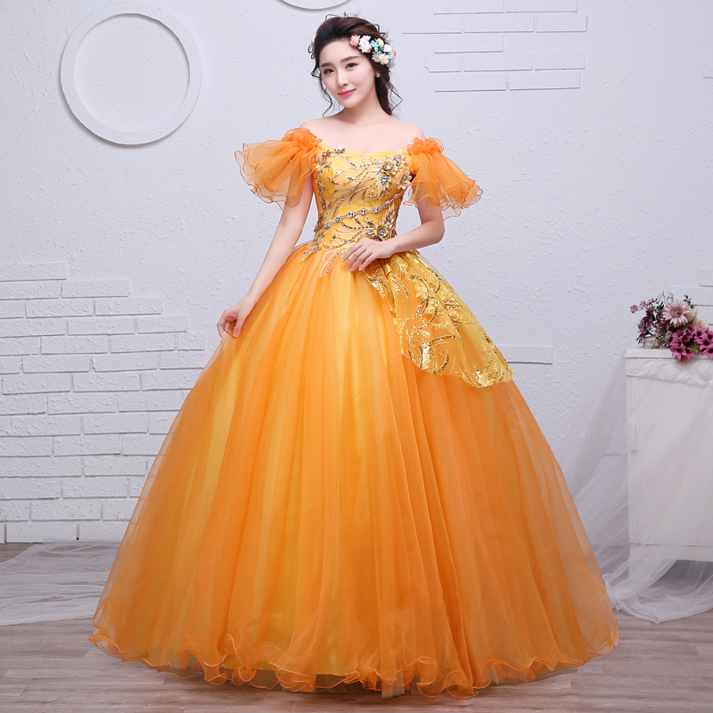 Boat Neck New Luxury Gold Quincenera Dress Elegant Girl Fly Sleeve Formal Party Beads Dresses Debutante Masquerade Ball Gowns