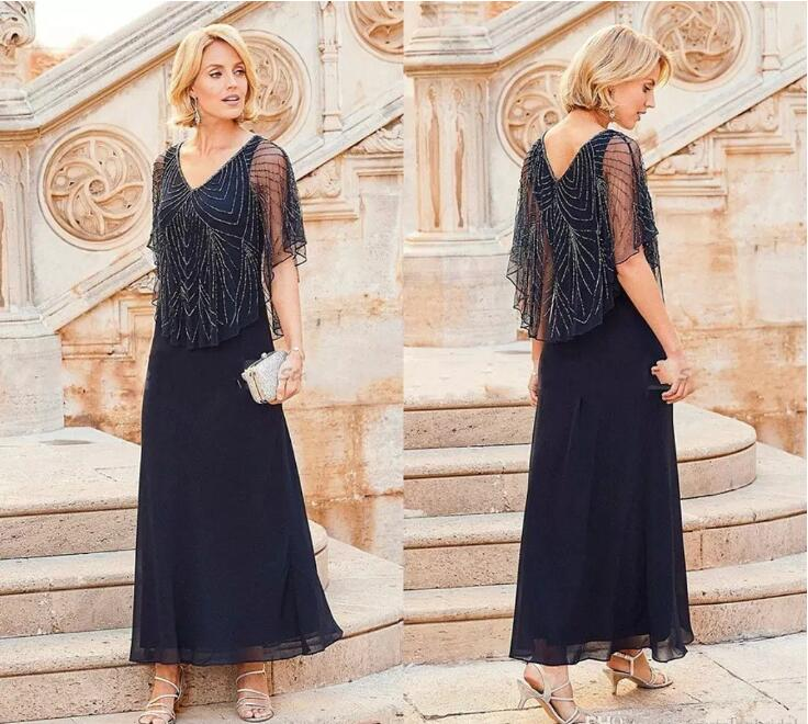 free shipping Navy Blue Chiffon V Neck Beading half Sleeves Ankle Length With Wrap Cape bridal gown 2018 Mother Off Bride Dress