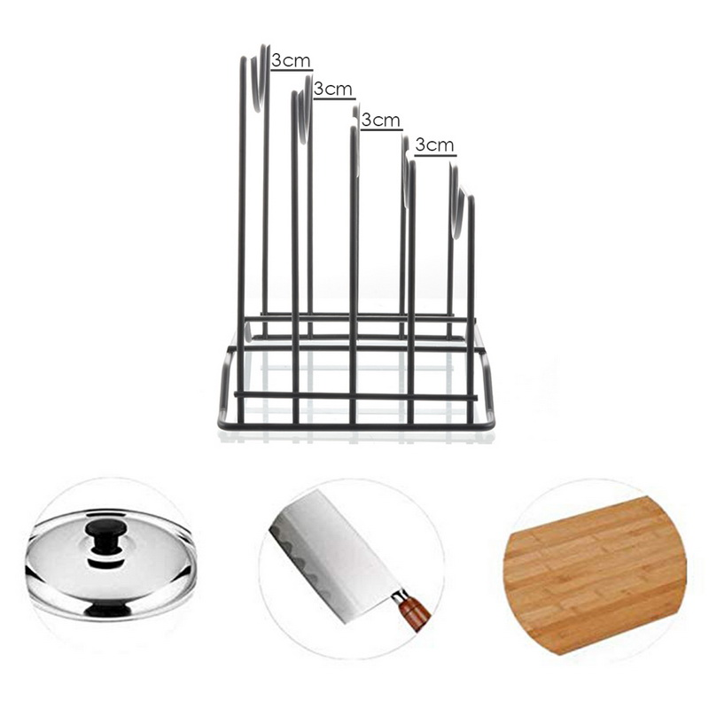 1pc Kitchen Shelf Pan Rack Cutting Board Holder Storage Pot Lid Organizer Stands Tapas Cover Stand Iron Dish Rack New