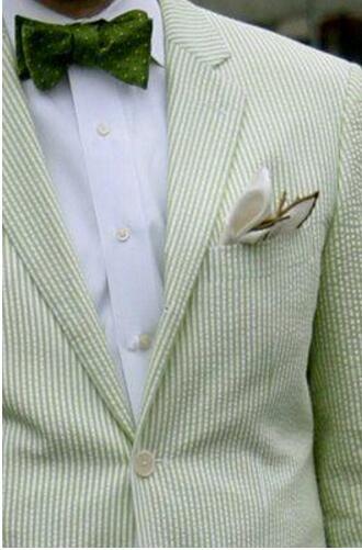 Зеленый Pinstripe хлопка Seersucker смокинг конструкции костюмы для выпускного для мужчин одежда жениха мужской костюм куртка Нарядные Костюмы для