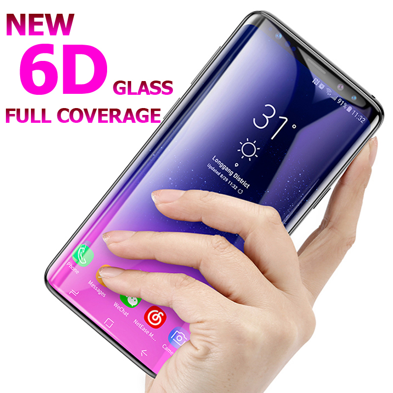 6D Tempered Glass For Samsung Galaxy S8 Plus Glass Note 8 S7 A8 A6 Screen Protector Film 5D For Samsung S9 Plus Full Cover Glass