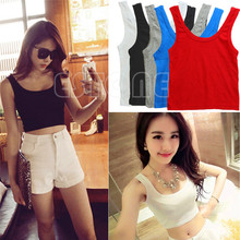 Women Cotton Thread Short Small Sling Vest Girls Solid Stretchy Scoop Neck Cropped Belly Tank Top Sleeveless Fitted Tee 3 Colors