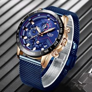 Image 2 - ליגע אופנה Mens שעונים למעלה מותג יוקרה שעוני יד קוורץ שעון כחול שעון גברים עמיד למים ספורט הכרונוגרף Relogio Masculino