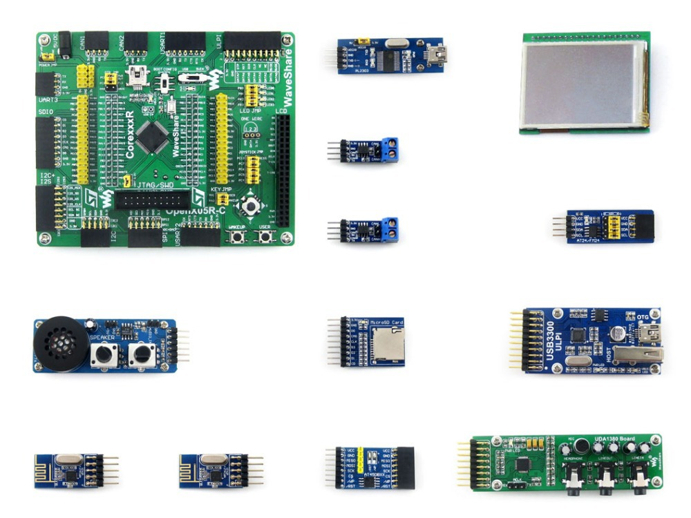 Parts Open205R-C Pack B=STM32 Development Board,STM32F205R ARM Cortex-M3 STM32F205RBT6 MCU+2.2inch 320*240 Touch LCD+10 Module K waveshare open205r c package a stm32 stm32f205rbt6 arm cortex m3 development board with 7pcs different functional modules cables