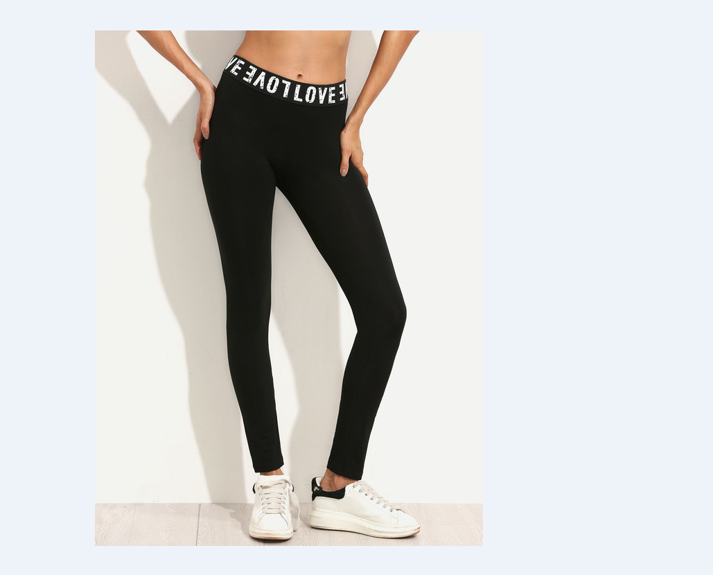 Active Workout Gym Sports Pants For Women Leggings Fitness Stretch Trousers Slim Long Pants Thin Pants Letter Mid Waist